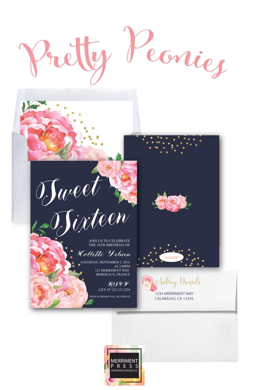 Sweet Sixteen Invitation Birthday Invitation Sweet 16 Navy