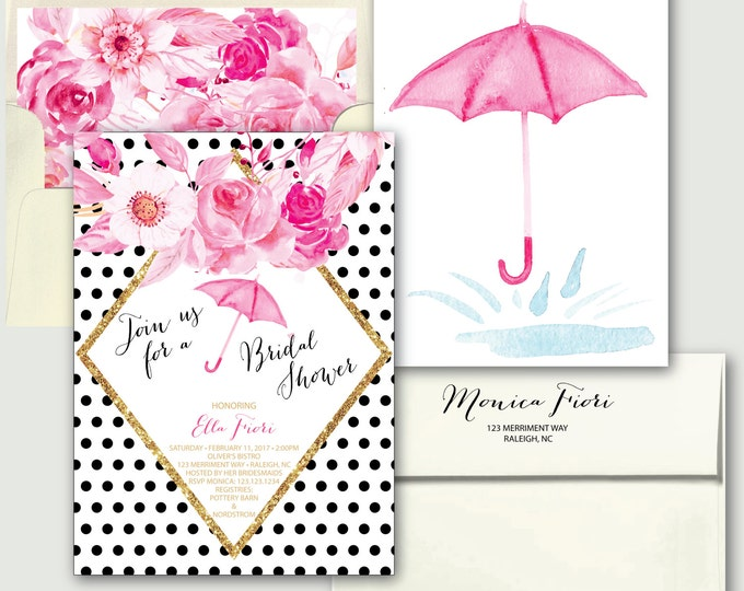 Umbrella Bridal Shower Invitation // Rain // Pink // black and white // floral // gold glitter // polka dot // RALEIGH COLLECTION