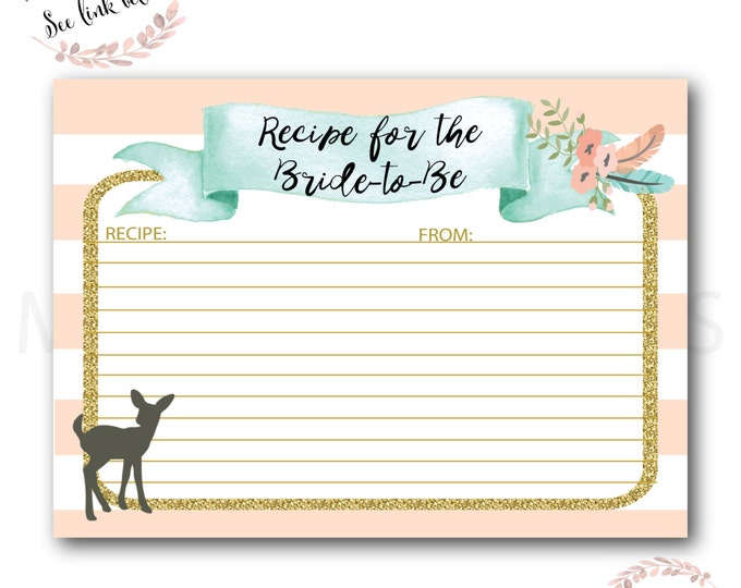 Recipe Card for the Bride to Be // Oh Deer // Fawn // Peach // Mint // Gold Glitter // Pink// Woodland//Instant Download// OXFORD COLLECTION