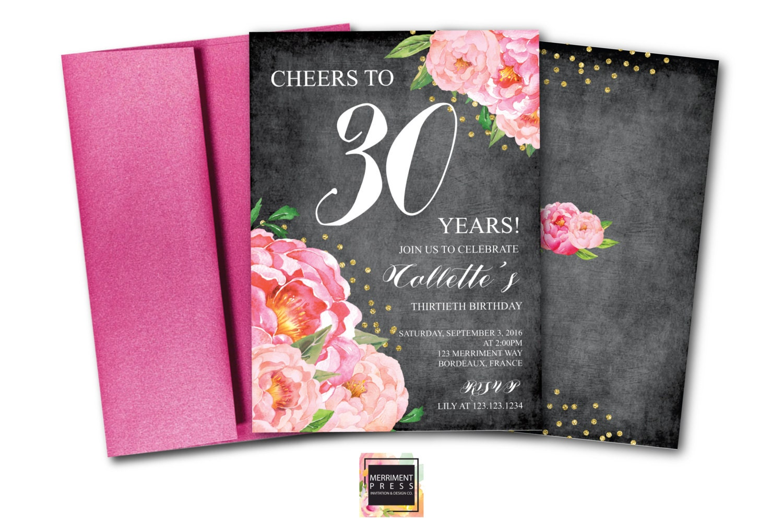 30th Birthday Invitation Thirtieth Chalkboard