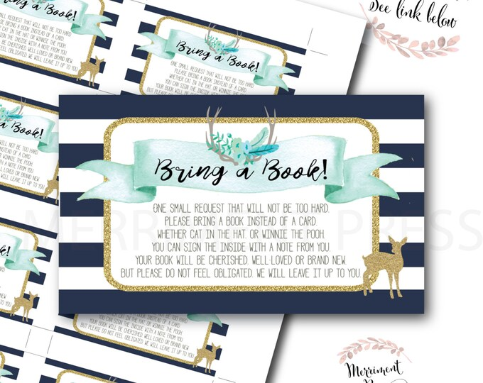 Deer Bring a Book // Oh Deer // Fawn // Bring a Book instead of a Card// Navy // Mint // Woodland // Instant Download // OXFORD COLLECTION