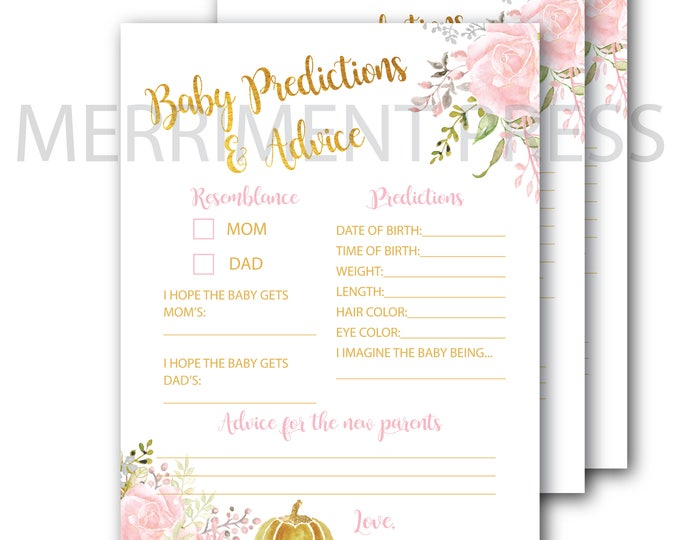 Fall Pumpkin Baby Predictions and Advice Card // Baby Shower // Pink // Gold // Peonies // Floral // Printed // CARMEL COLLECTION