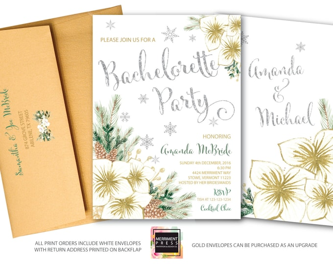 Winter Bachelorette Party Invitation // Holiday Bachelorette // Snowflake Bachelorette // Snowflakes // Silver // Gold // VERMONT COLLECTION