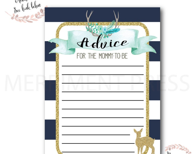Advice Card // Oh Deer // Fawn // Baby Shower Activities // Woodland // Navy // Stripes//Gold Glitter // Pink //Printed // OXFORD COLLECTION