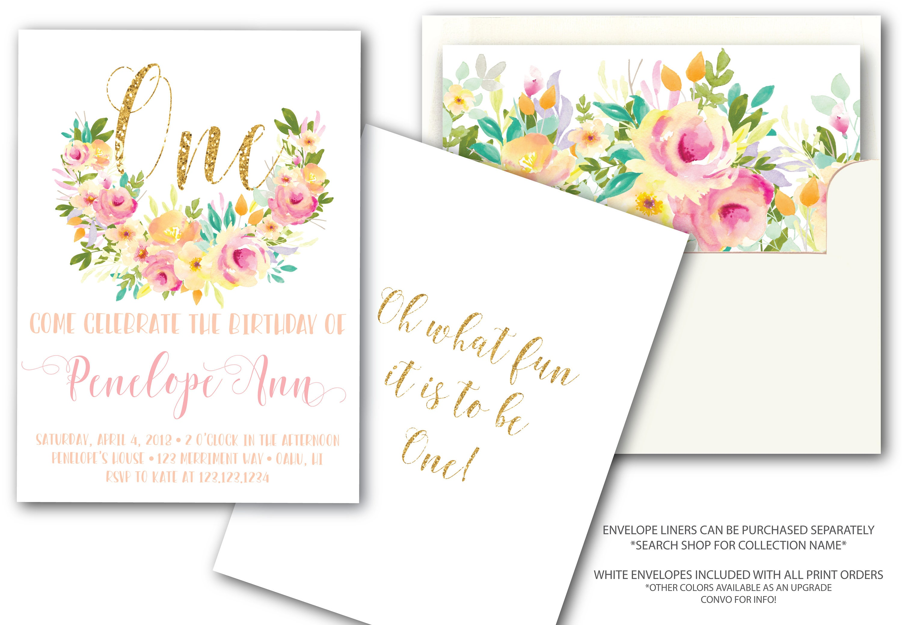 Pink And Gold First Birthday Invitation Glitter Mint Peach One Pretty Watercolor Floral Invite Oh What Fun To Be OAHU COLLECTION