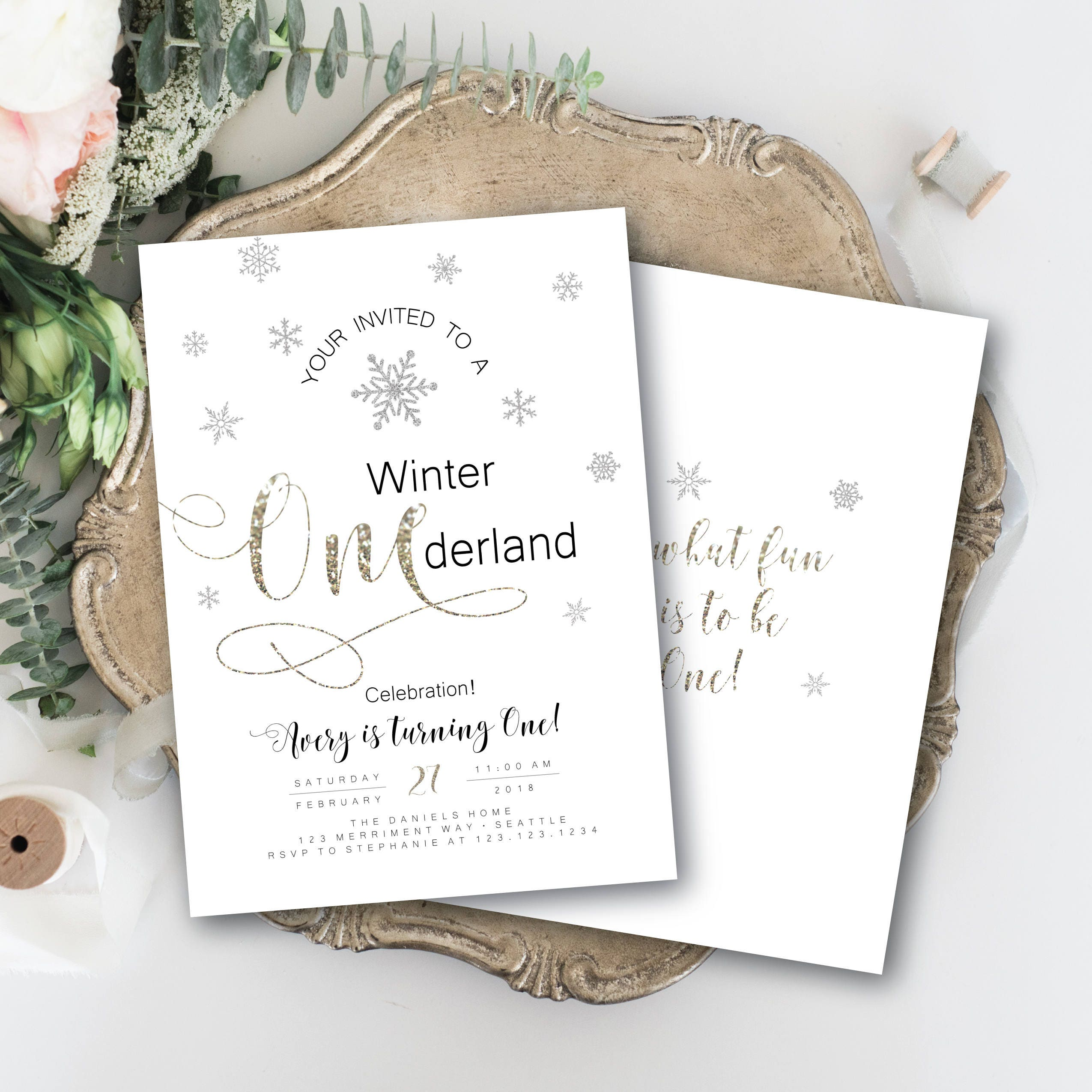 winter onederland invitation first birthday glitter sparkle invite
