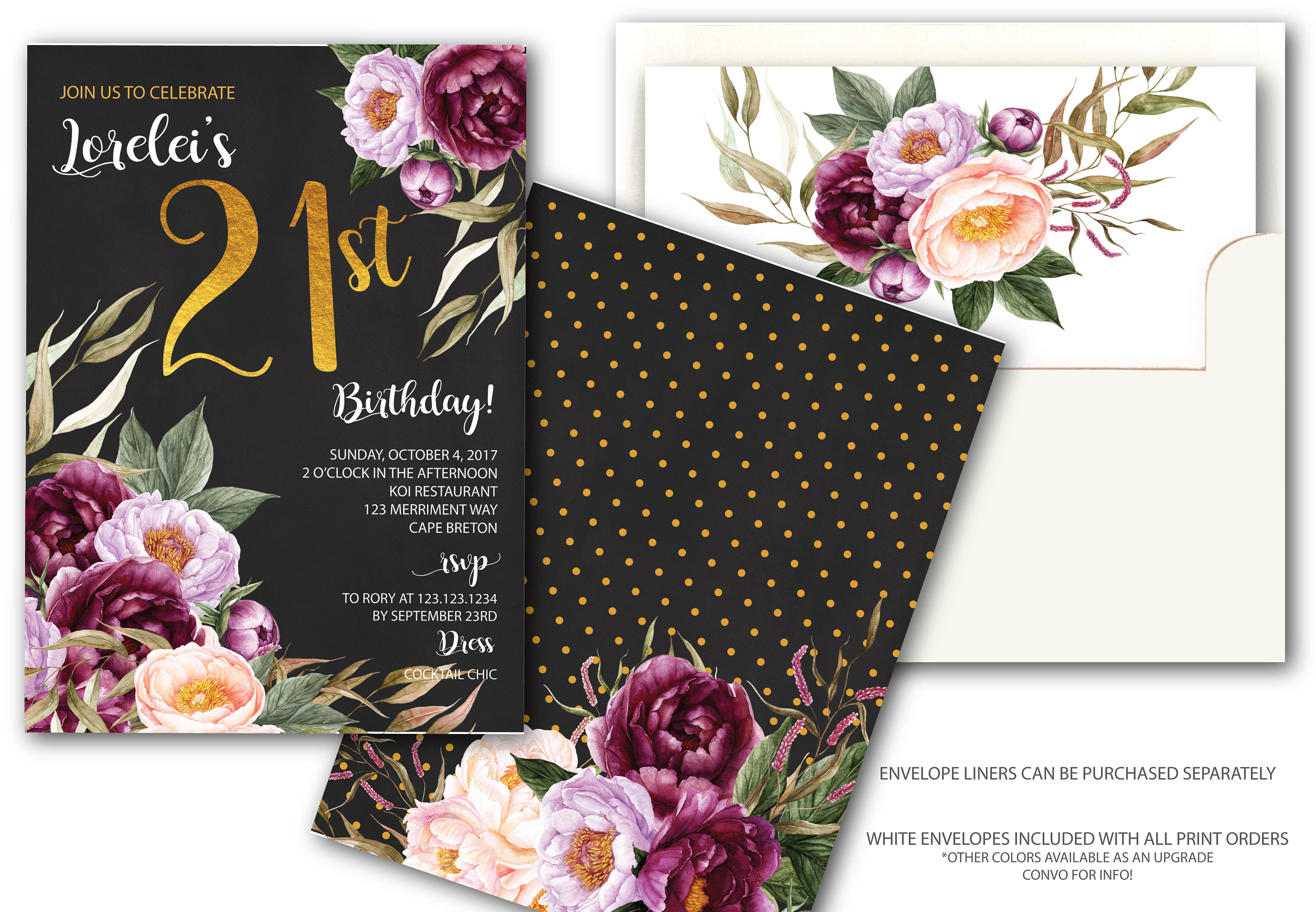 21st Birthday Invitation Burgundy Floral