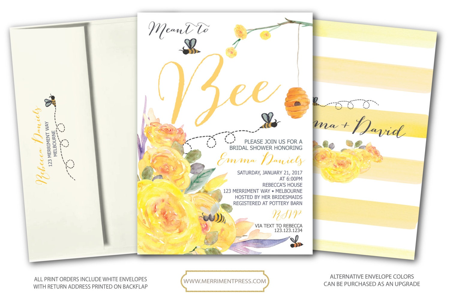 bee bridal shower invitation yellow bridal shower invitation stripes floral meant to bee watercolor melbourne collection