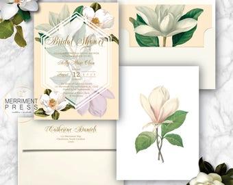 Magnolia Bridal Shower Invitation / Magnolias / Botanical / Cream / Greenery / Southern Bridal Shower / CHARLESTON COLLECTION