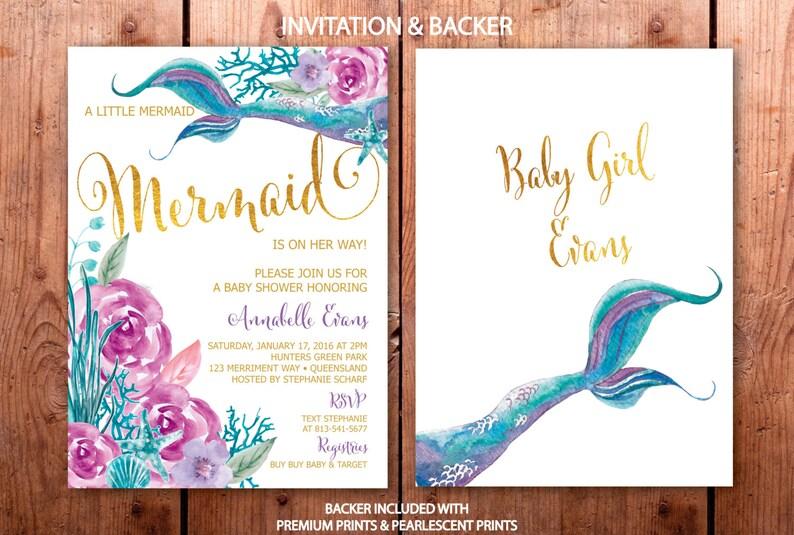 354ee4f64 Mermaid Baby Shower Invitation Purple and Teal Mermaid Baby | Etsy