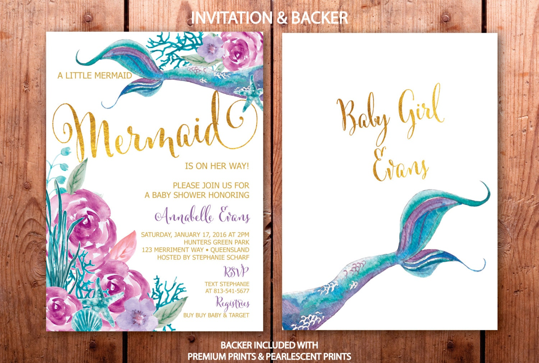 Mermaid Baby Shower Invitation, Purple and Teal Mermaid Baby Shower ...