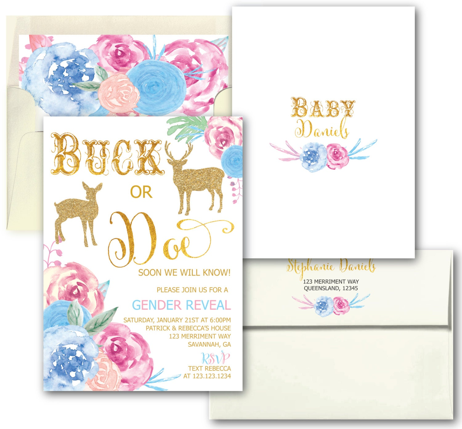 Gender Reveal Invitation Buck Or Doe Party He She Boy Girl Gold Floral SAVANNAH COLLECTION