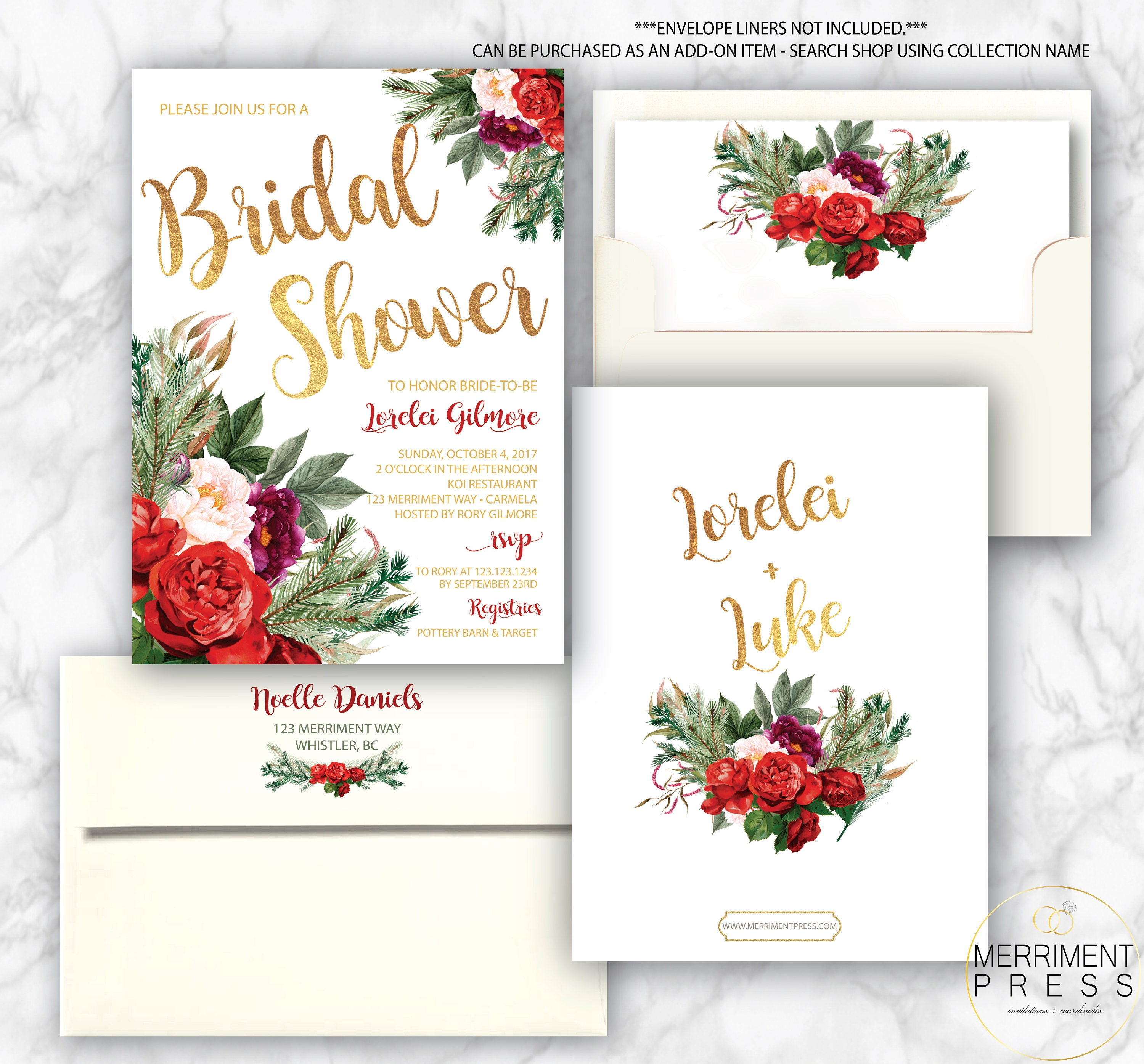 holiday bridal shower invitation christmas bridal shower winter bridal shower red green gold foil whistler collection
