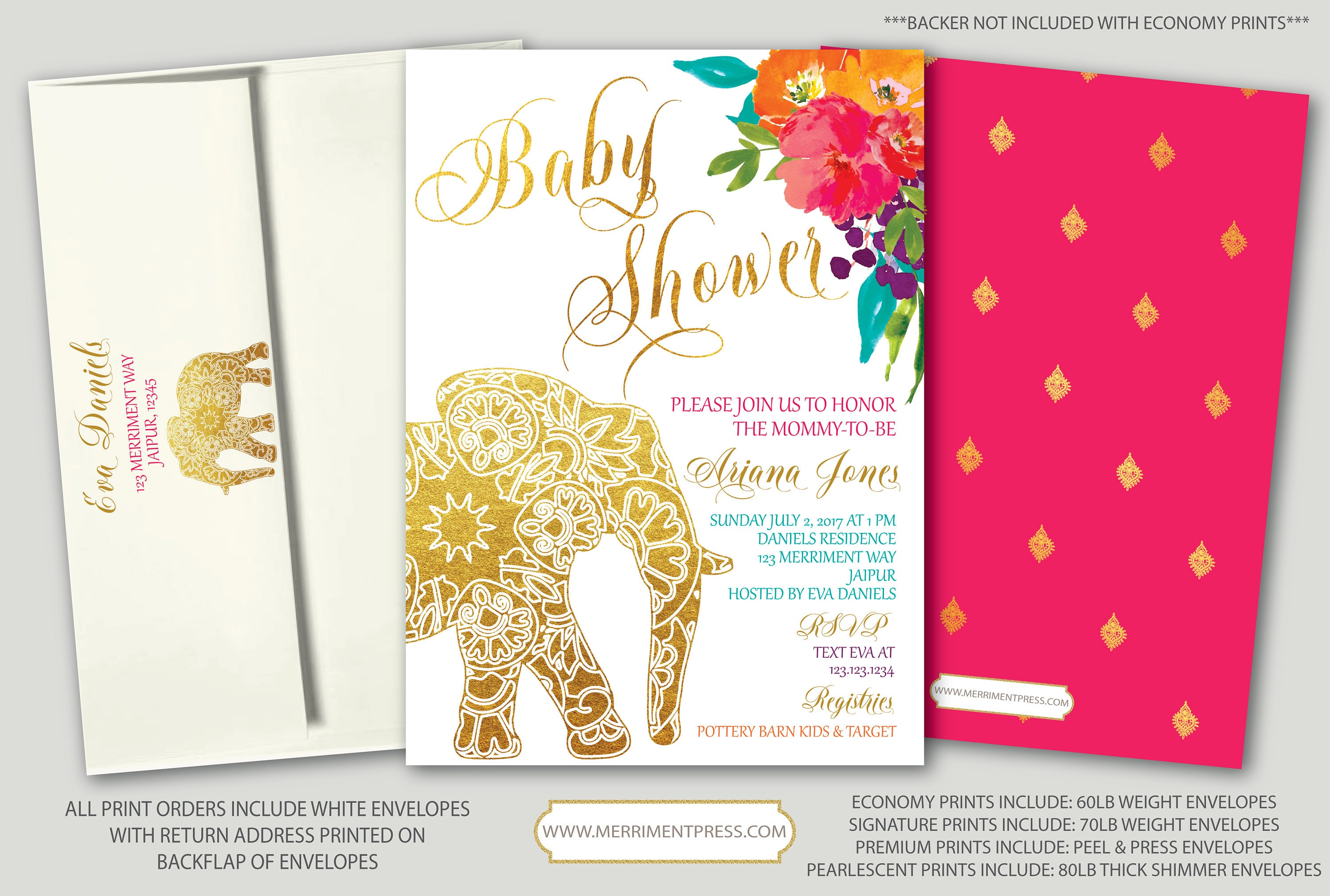 Indian Themed Baby Shower Invitation Bollywood Elephant