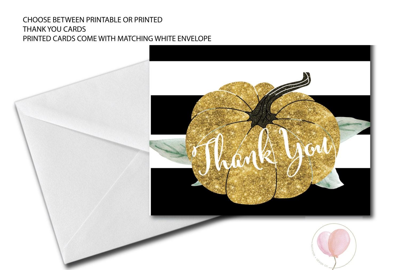 Pumpkin Thank You Card Folded Thank You Gold Glitter Black