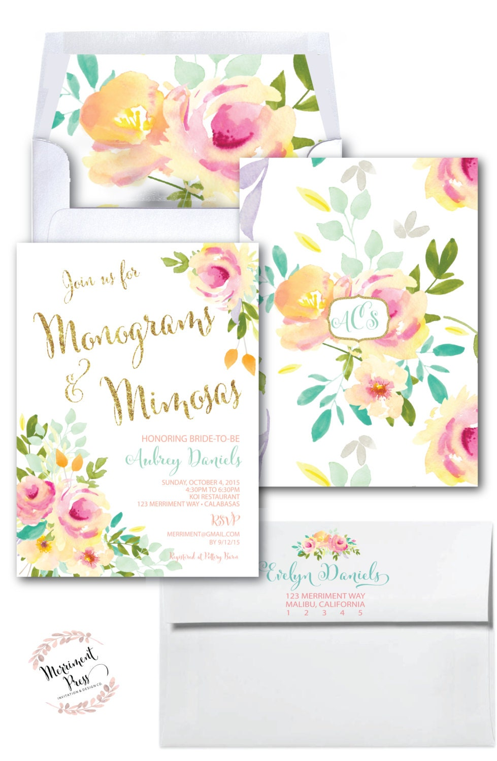 aa396a6f2027 Monograms and Mimosas Invitation  Watercolor   Roses  Peonies ...
