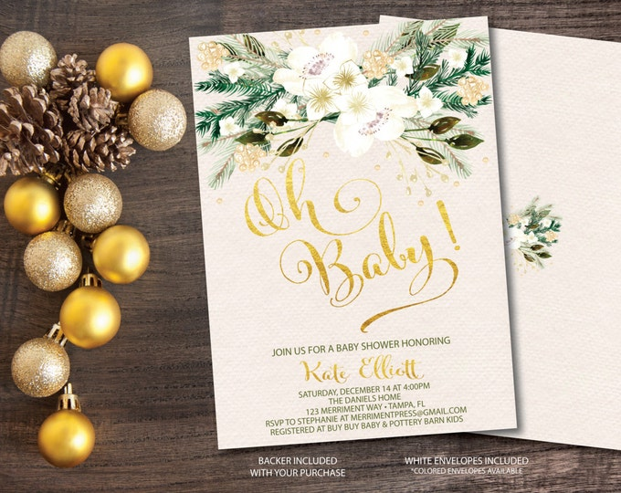 Winter Baby Shower Invitation // Oh Baby // Winter White // Gold // Faux Foil // glitter // Holiday // Evergreens // MONTPELIER COLLECTION