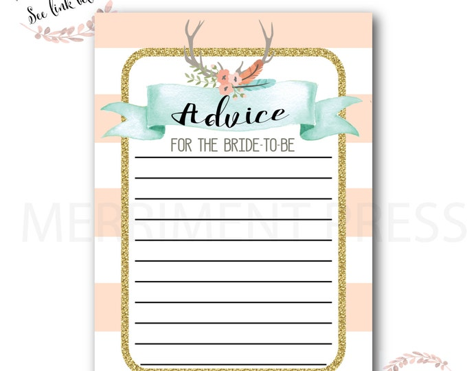 Advice Card // Oh Deer // Fawn // Bride to Be // Peach // Mint // Gold Glitter // Pink // Woodlands // Instant Download // OXFORD COLLECTION