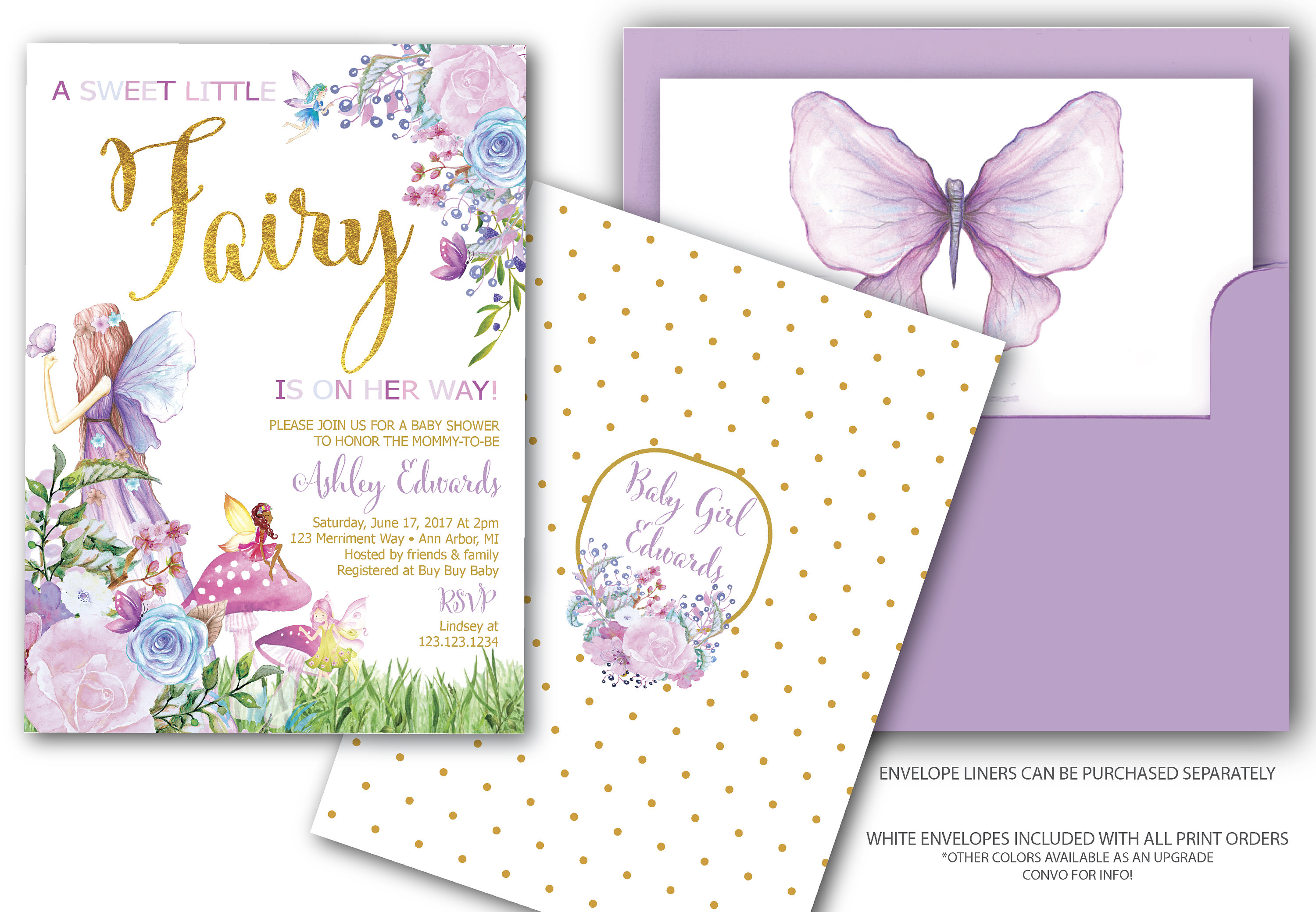 Fairy Baby Shower Invitation Fairies And Buterflies Baby Sprinkle