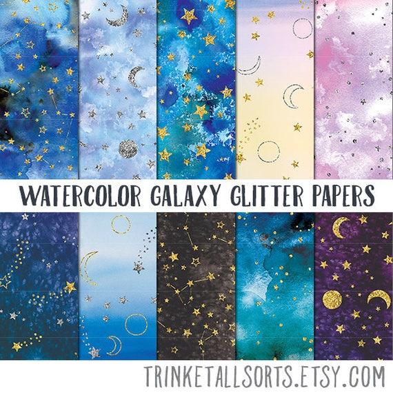 Watercolor Galaxy Digital Paper Night Sky Scrapbook Paper Etsy