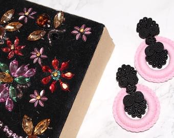 chinese closure hook on light lilac macrame hoop earrings