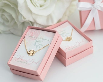 8265ea78eb3 Flower Girl Rose Necklace - CUSTOM Name Will You Be My Flower Girl Gift  Gold Silver Rose Gold Plated - Boxed Necklace - J-NE07G