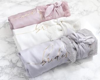 Satin Bridesmaid Robes, Lace Kimono Wedding Robe, Bridal Party Honeymoon Robes - Bride, Maid Matron of Honor, Bridesmaid Gift Lace Robe