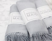 Light Gray Pashmina with Personalized Wrap - Bridal Party Thank You Gifts Custom Scarves Bridal Shower Favors Wedding Favors - A-WS01LG