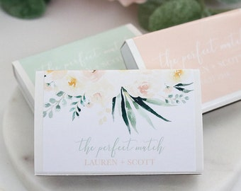 Wedding Matchboxes Floral - Set of 50 Personalized Matches, Wedding Favors, Custom Matches, Wedding Decor, Wedding Sparklers - F-BW03W