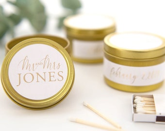 Mini Soy Candles F-TC01G Wedding Favors Wedding Candles Travel Candles Gold Tin Candles Thank You Monogram Personalized Candles