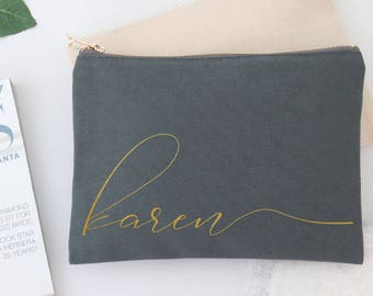 Personalized Monogram Makeup Cosmetic Bag - Cursive Script CUSTOM NAME Cosmetic Bag - Best Friend Gift, Bridesmaid Gift
