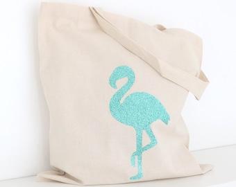Glitter Flamingo Tote Bag - Bachelorette Party Tote, Bridal Tote Bags, Wedding Totes, Custom Tote Bags, Market Bag, Canvas Tote