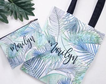 Watercolor Leaves Tote and Cosmetic Bag Set - Custom Totes, Zipper Pouch, Personalized Tote, Wedding Tote Bags B-TB03KSU+B-CB03KSU