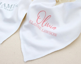 Bandana Baby Bib - Custom Bib With Name Custom Baby Gift Its a Girl Its a Boy New Mom Baby Shower Gift - A-BC05SU