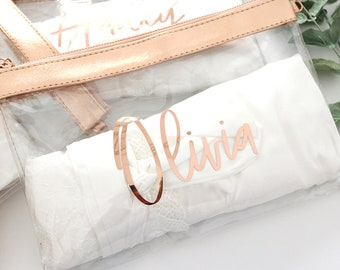 Clear Rose Gold Makeup Cosmetic Bag, Clear Stadium Bags Personalized Clear Clutch, Custom Monogram Bag, Clear Toiletry Bag - B-CB02RG