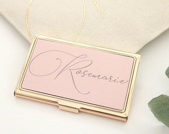 Personalized Gold Business Card Holder - Blush Mint Black Business Card Holder Boss Gift Employee Gift CoWorker Gift Graduate Gift - O-BC01G
