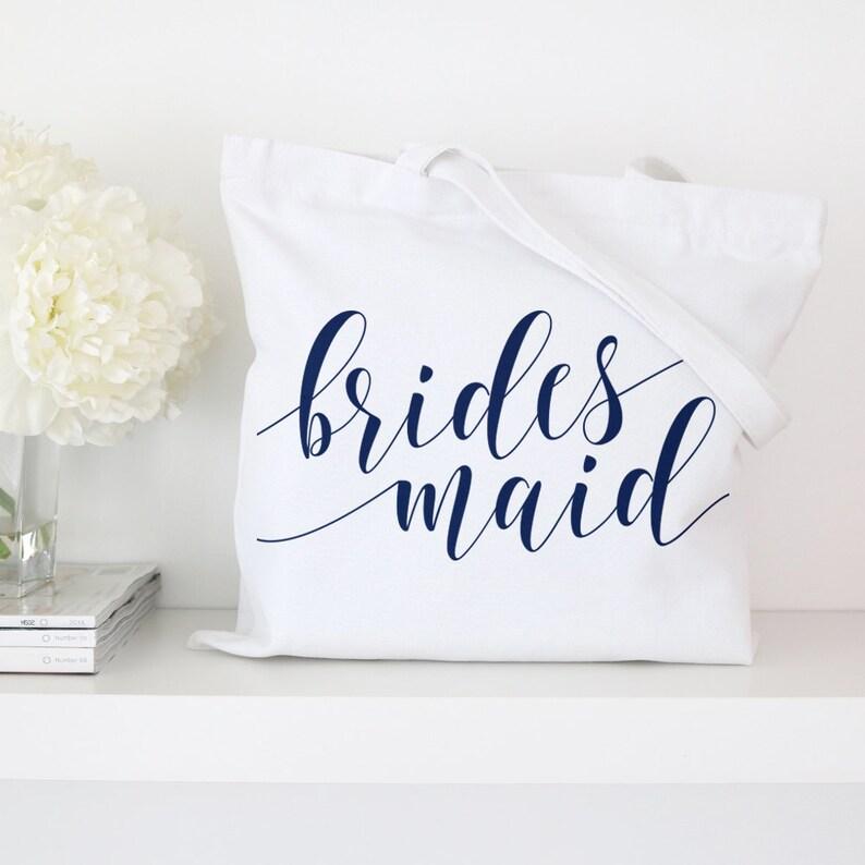 Bridesmaid Fancy Script Tote Bag Wedding Totes Market Bag White Bachelorette Party Bridal Tote Bags Custom Tote Bags Canvas Tote