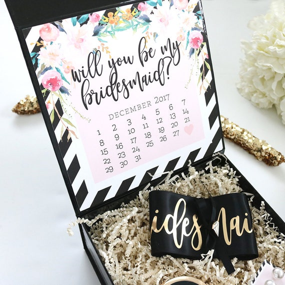 Bridesmaid Proposal Box Floral Black And White Stripes