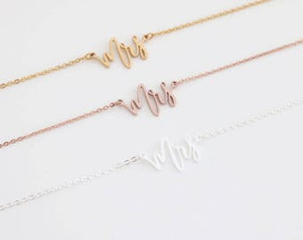 Future Mrs Necklace - MRS Gold Rose Gold Silver  Plated Necklace CUSTOM Name - Necklace Pendant Jewelry