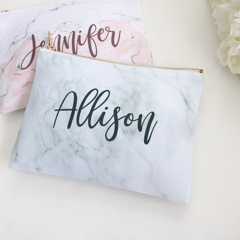 Monogram Marble Makeup Bag  Personalized Gray Marble Pink image 0
