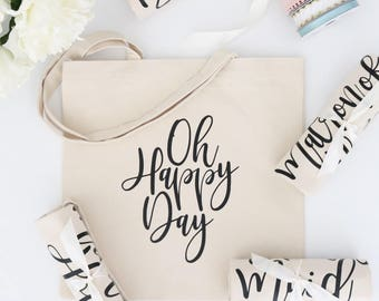 Wedding Day Tote Bag - Natural Bridal Party Tote - Bridal Shower Tote - Wedding Tote, Bridal Tote Bags, Personalized Totes, Custom Tote Bags
