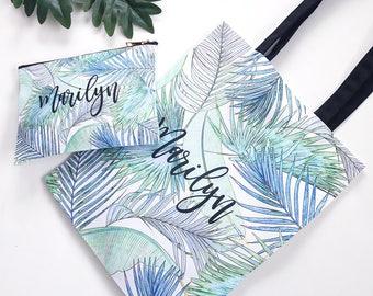 Watercolor Leaves Tote and Cosmetic Bag Set - Personalized Totes, Zipper Pouch, Custom Tote, Wedding Tote Bags B-TB03KSU+B-CB03KSU