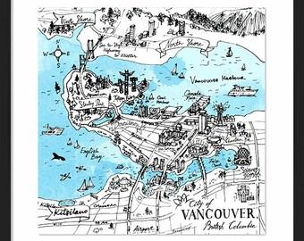 Vancouver Map - City of Vancouver British Columbia Canada Watercolor Art print - Home decor Wall Art