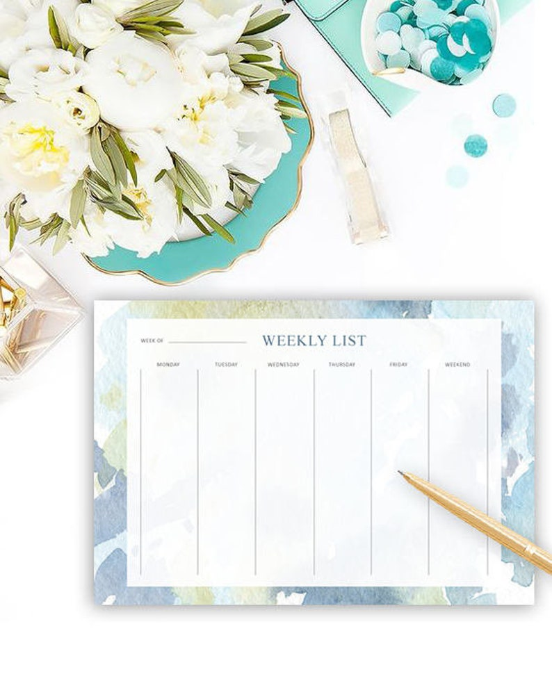 Gift for Her Bright Colorful Stationery Cute Watercolor Planner To Do List Weekly List Desk Pad Friend Gift Gift for Coworker
