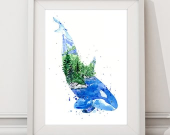 Kasatka / Orca Killer Whale Ocean Spirit Animal Watercolor Art print