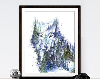 Young Wolf / Mountains & Forest  Spirit Animal - Giclee Art print - Cool Unique Watercolor Painting - Home decor Wall Art - 8x10 11x14