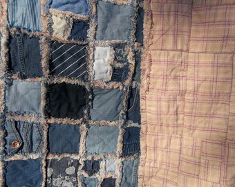 Upcycled blue jeans quilt, faux chenille seams, pink and gold plaid backing, twin size improved rag style