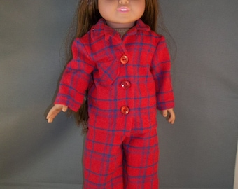 Red with blue plaid flannel pajamas and slipper booties for 18 inch dolls like American Girl