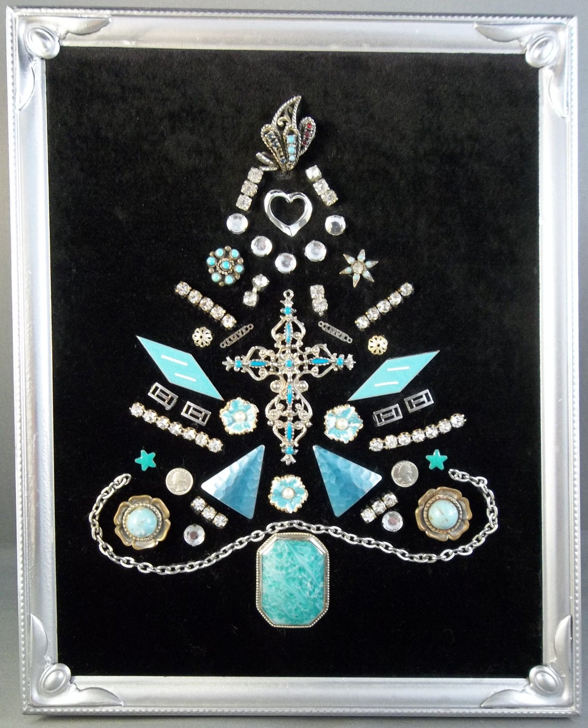 Turquoise And White Christmas Tree: Turquoise And Silver Vintage Jewelry Christmas Tree Framed