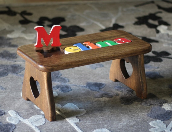Cool Personalized Name Puzzle Step Stool Pick Your Finish First Birthday Christmas Baby Gift Baby Shower New Baby Gift Educational Toy Onthecornerstone Fun Painted Chair Ideas Images Onthecornerstoneorg